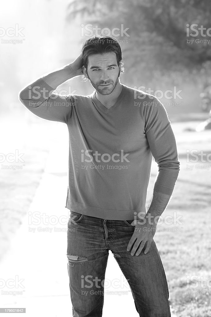 Young man outdoors stock photo