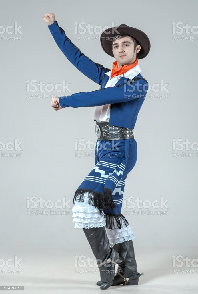Young Man Performing Dance Gaucho stock photo