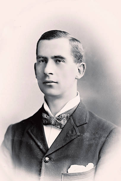 Young man Vintage portrait of a man wearing a bowtie antecedence stock pictures, royalty-free photos & images