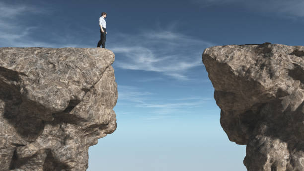 Young man Young man in front of a chasm. This is a 3d render illustration ravine stock pictures, royalty-free photos & images