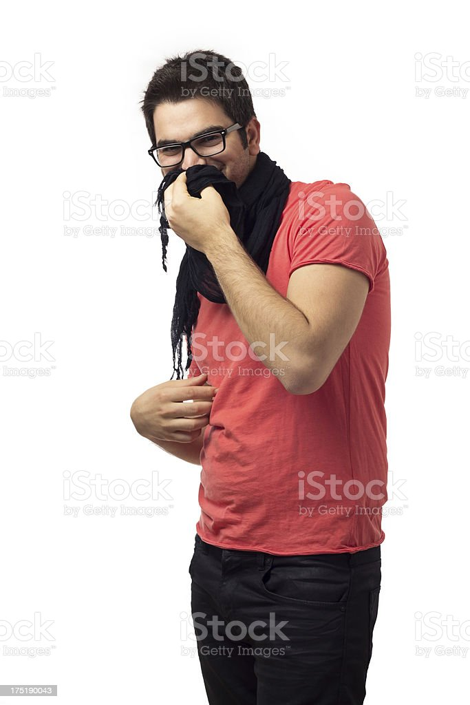 Young man pinches nose royalty-free stock photo