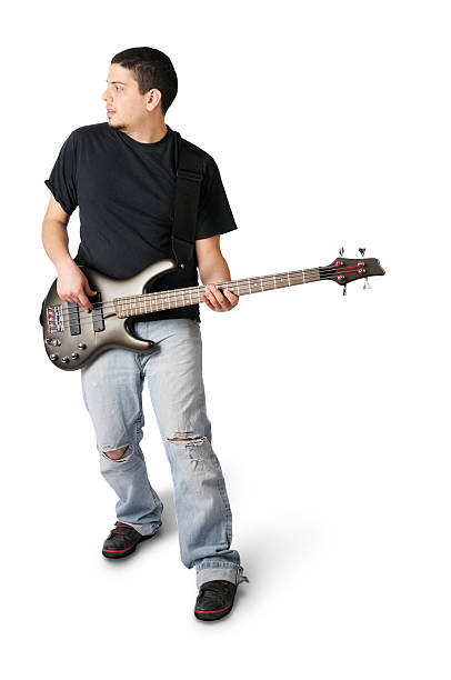 Young Man Playing Bass Guitar stock photo