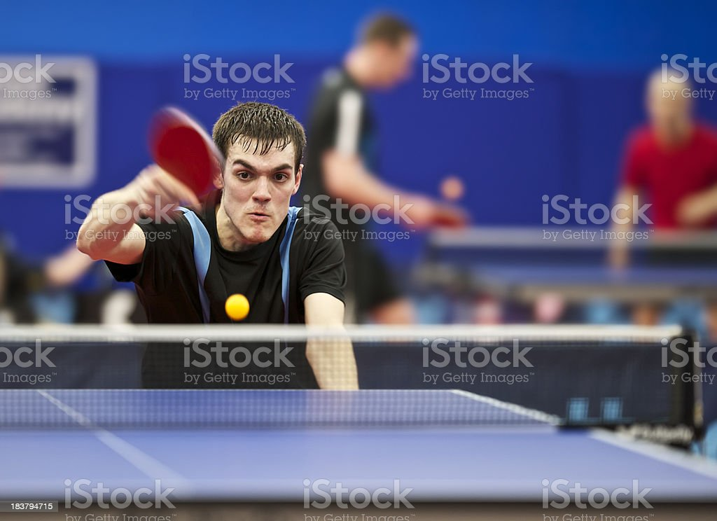 Young Man Playing Table Tennis stock photo
