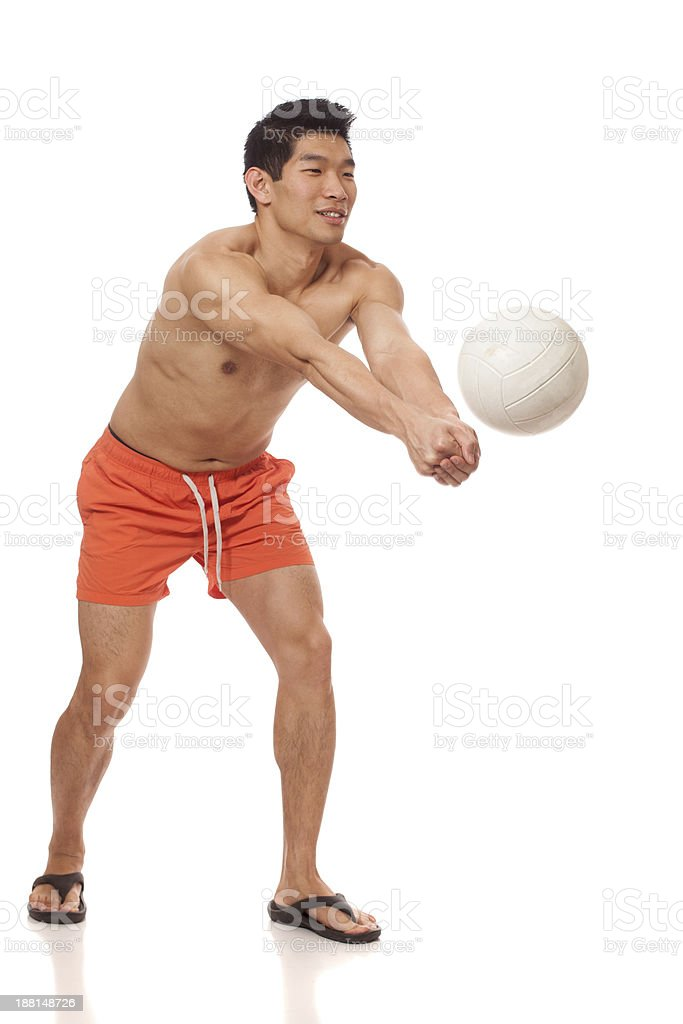 Young Man Playing Volleyball royalty-free stock photo