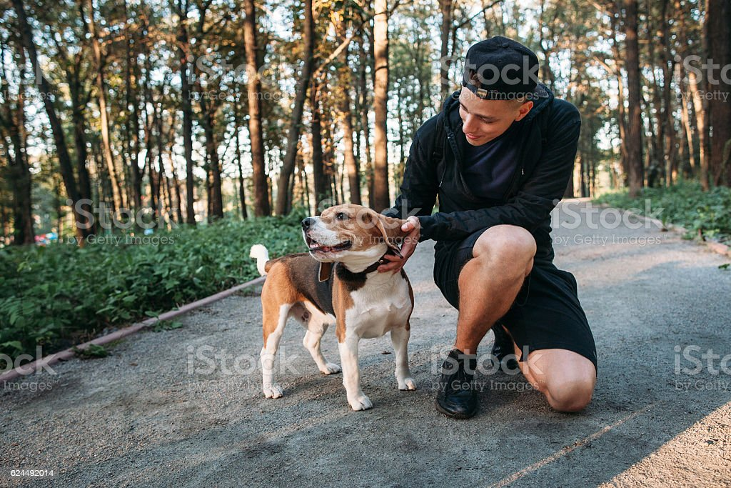 Young man playing with his dog in forest stock photo