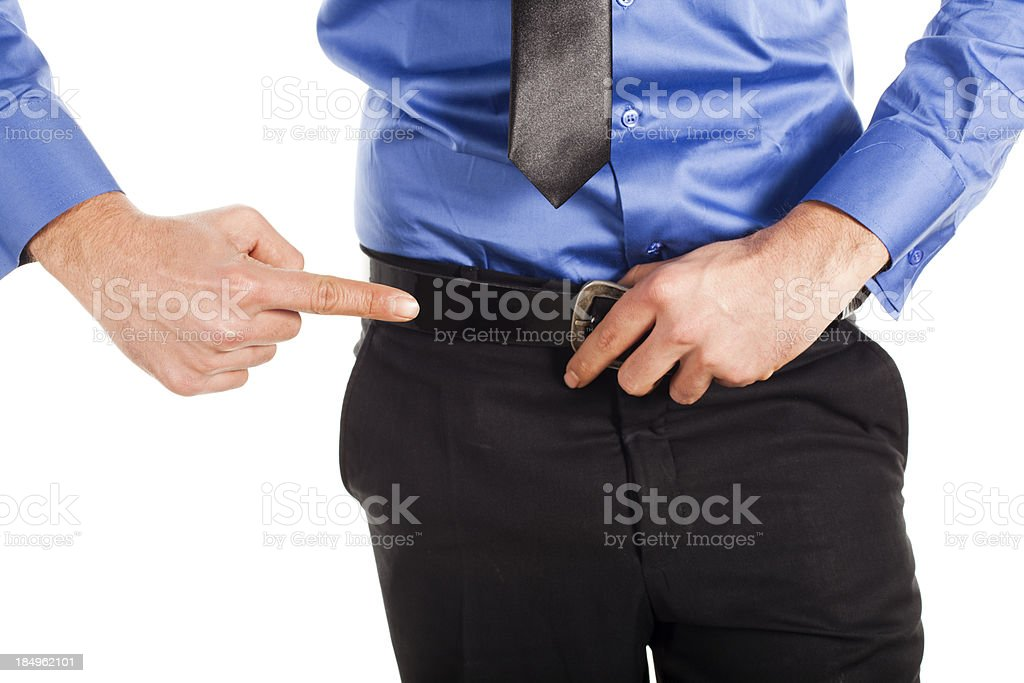 Young man pointing royalty-free stock photo