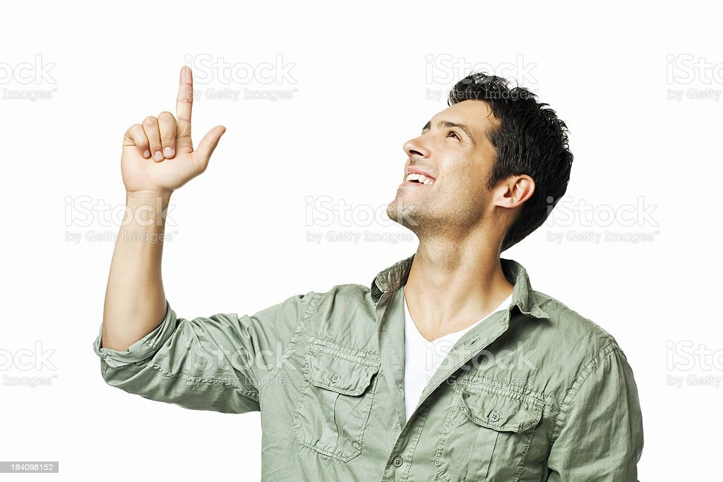 Young Man Pointing Upwards - Isolated stock photo
