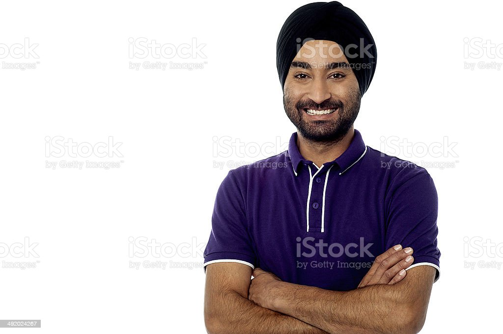 Young man posing casually over white stock photo