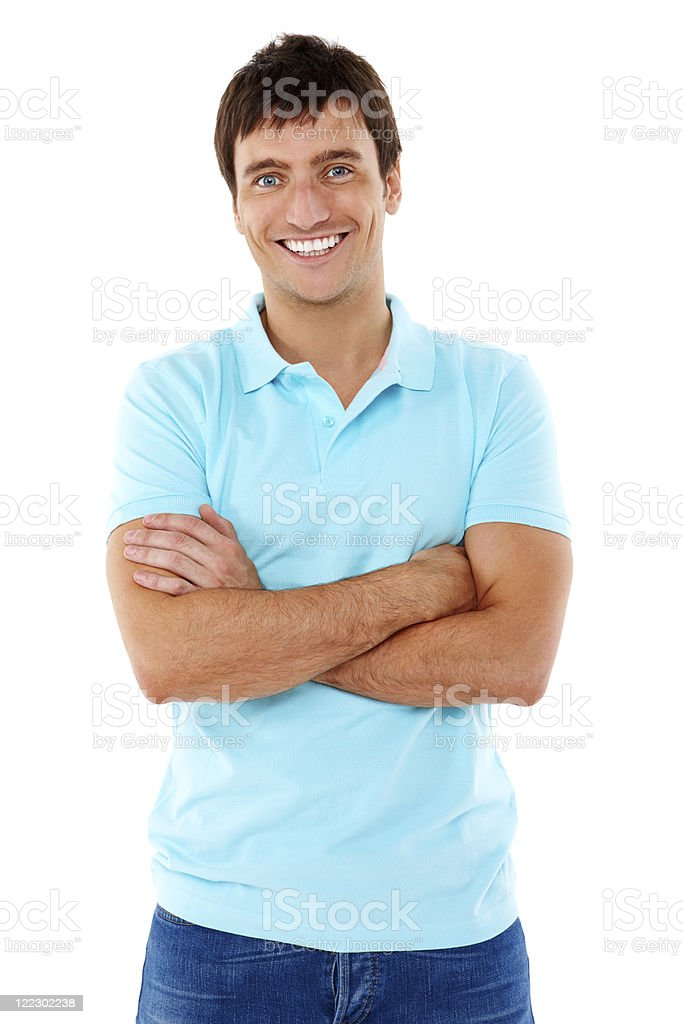 Young Man Posing in a Blue Shirt - Isolated stock photo