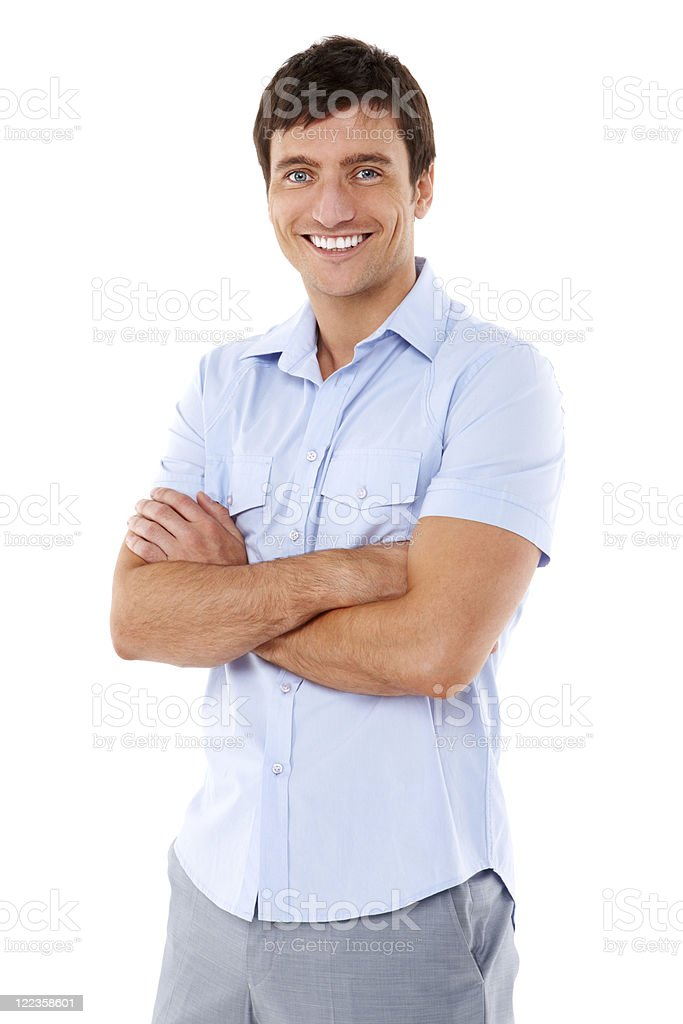 Young Man Posing in a Short-Sleeved Shirt - Isolated stock photo