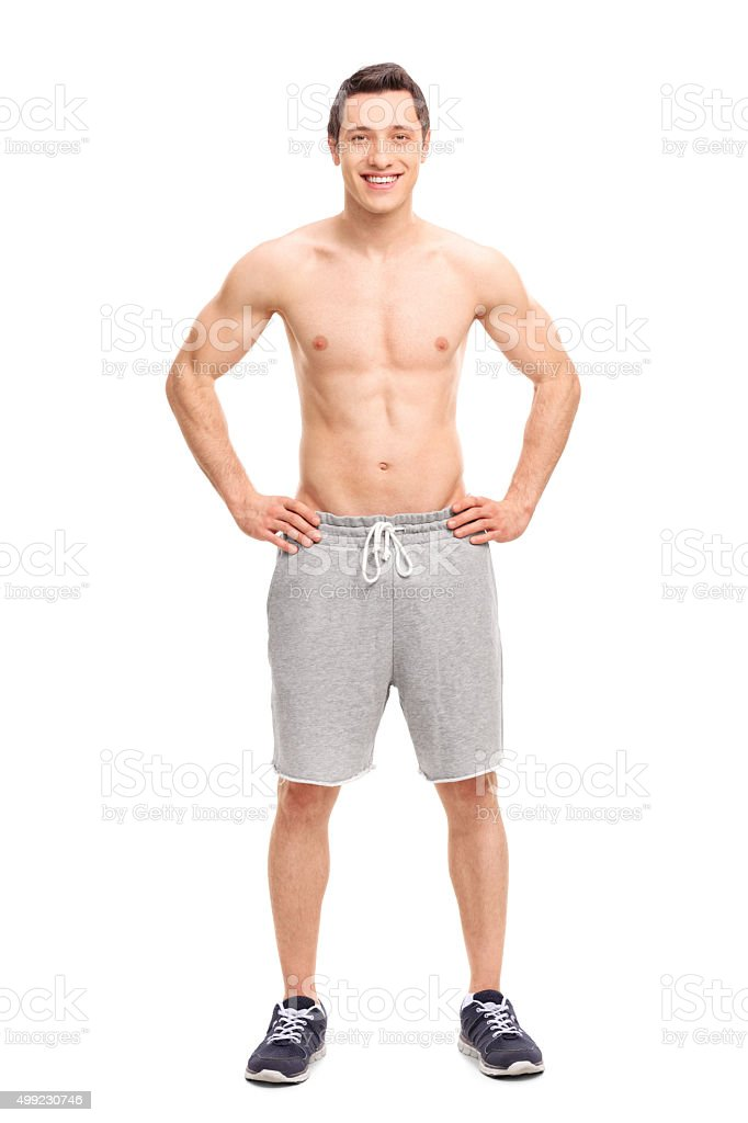 Young man posing shirtless stock photo
