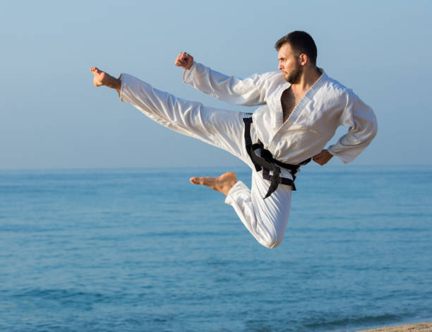 joven practicando posiciones de karate - kárate fotografías e imágenes de stock