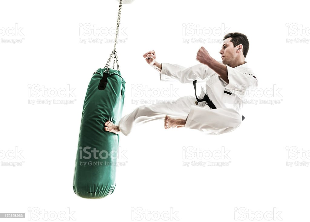 Young man practicing martial arts royalty-free stock photo