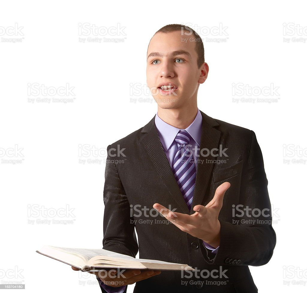 Young man preach the Gospel royalty-free stock photo