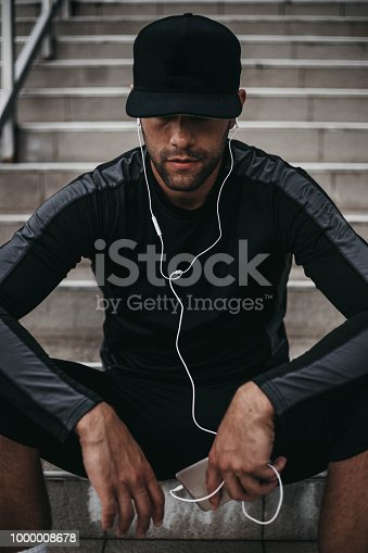 Young man preparing to workout