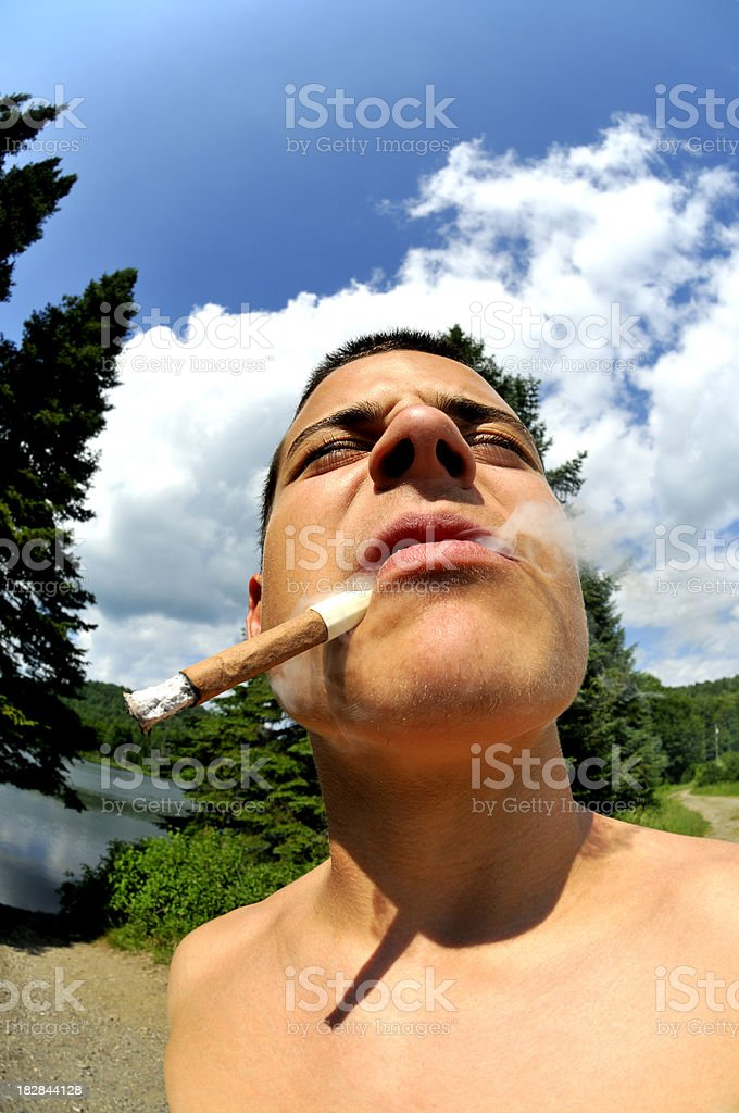 Young Man Puffing on a Cigar stock photo