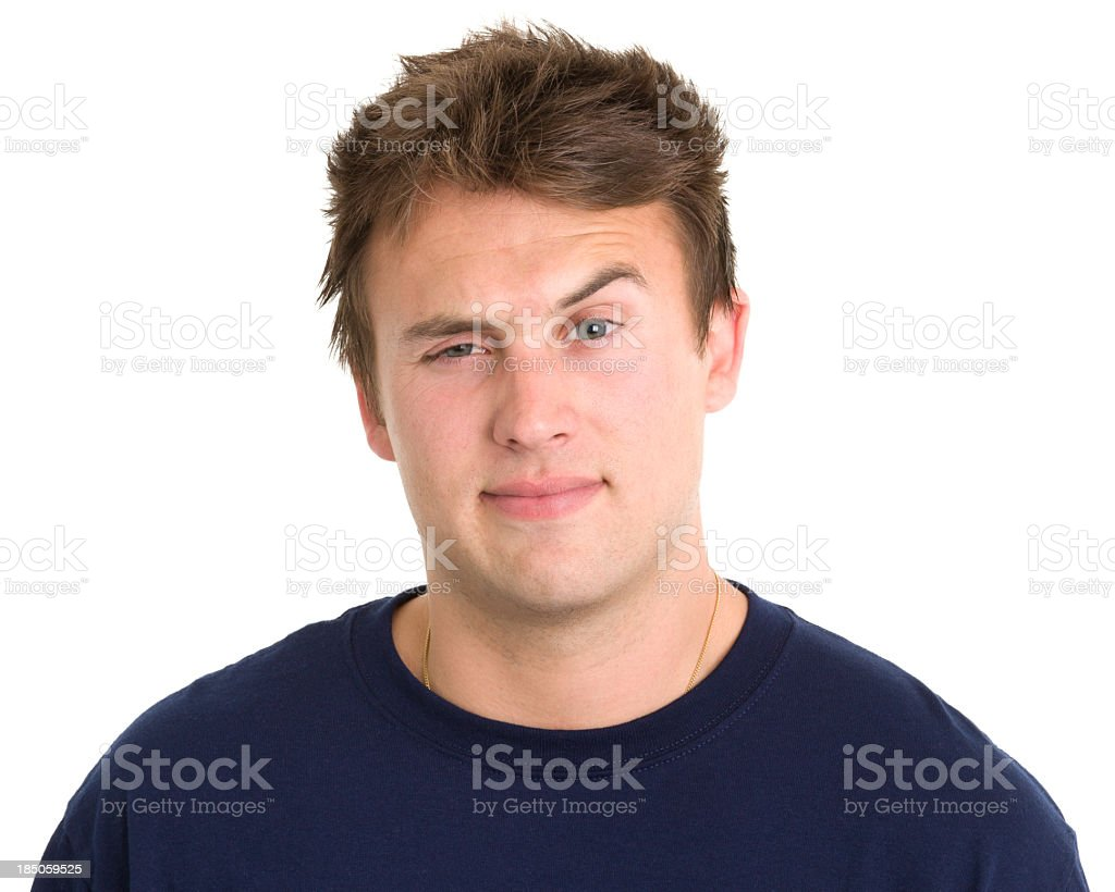 Young Man Raises One Eyebrow royalty-free stock photo