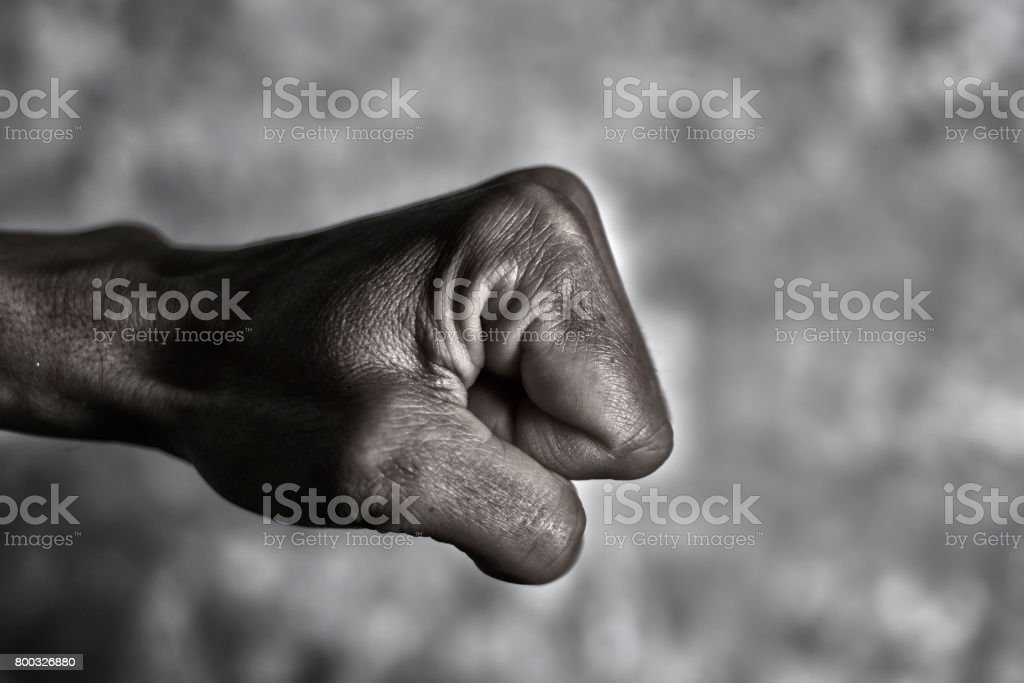 young man ready to punch or fight stock photo