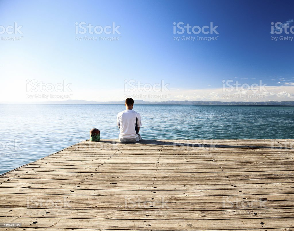 young man relax watch on ocean royalty-free stock photo