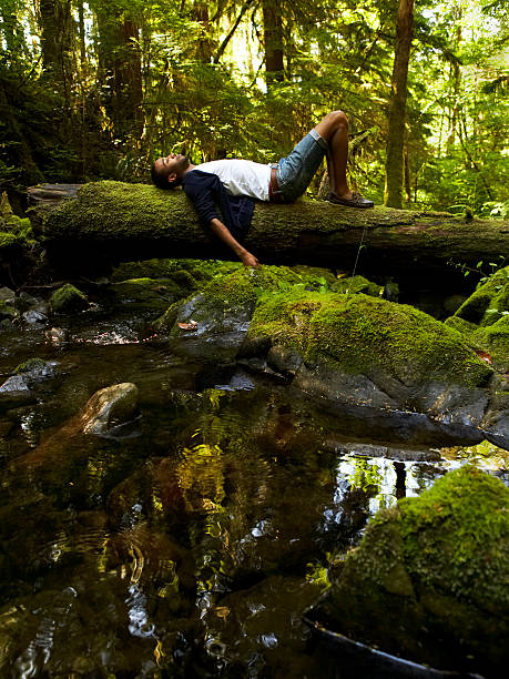 Young man relaxing in forest stock photo
