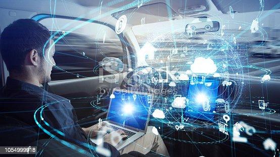 913581100 istock photo Young man riding autonomous car. 1054999918