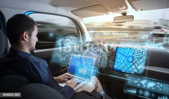 istock Young man riding autonomous car. 949302482