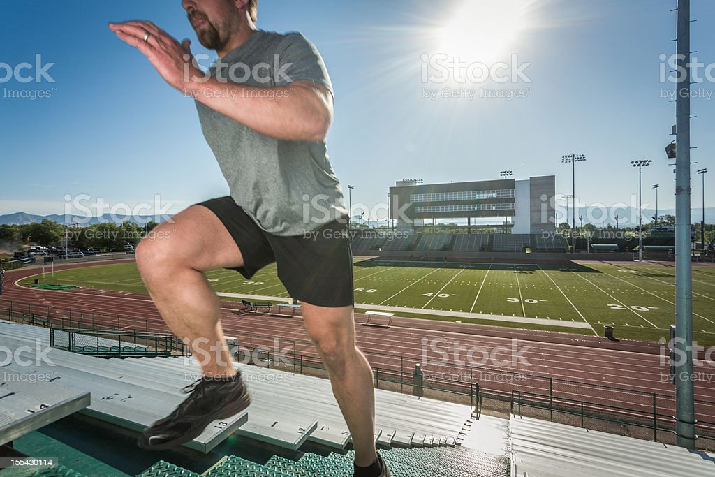 Young Man Running Stairlaps royalty-free stock photo