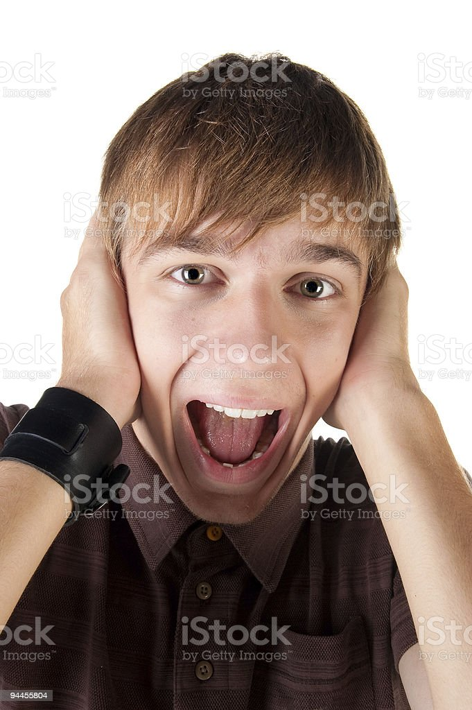 Young man screaming. royalty-free stock photo