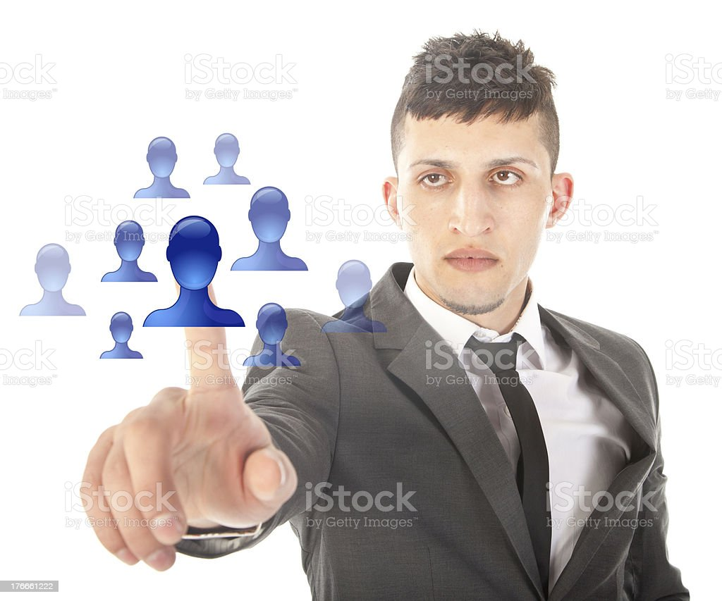 Young man selecting blue virtual friends isolated on white background royalty-free stock photo