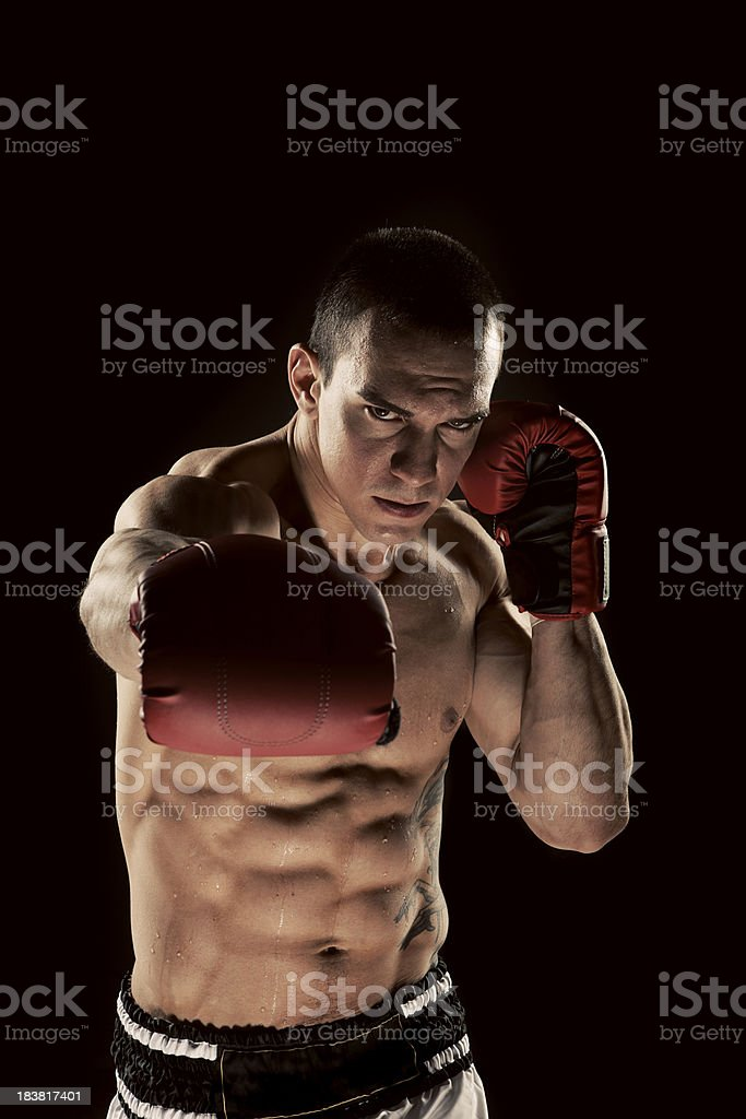 Young Man Shadow Boxing royalty-free stock photo
