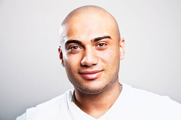 Royalty Free Shaved Head Men Middle Eastern Ethnicity