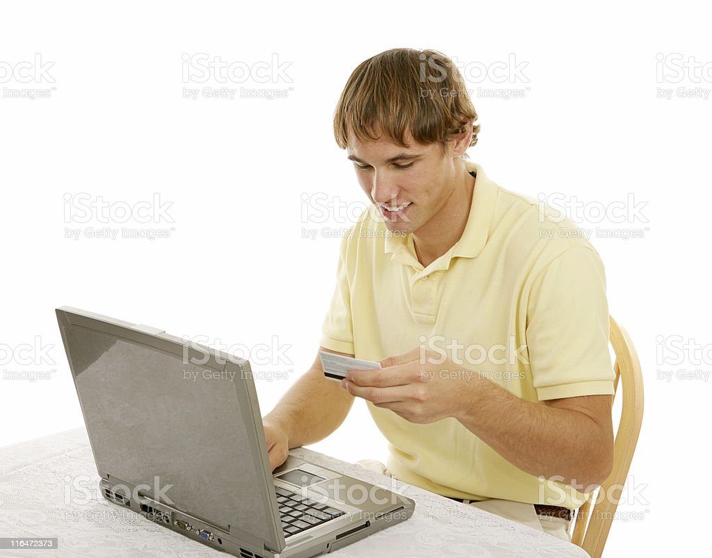 Young Man Shops Online royalty-free stock photo