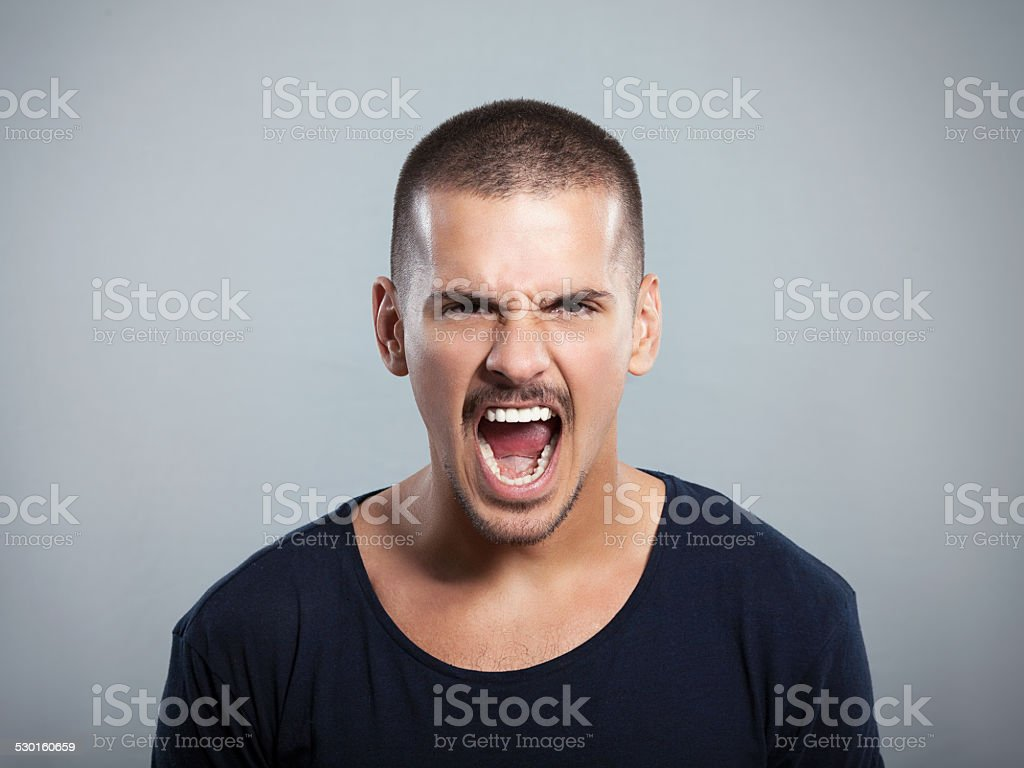 Young Man Shouting stock photo