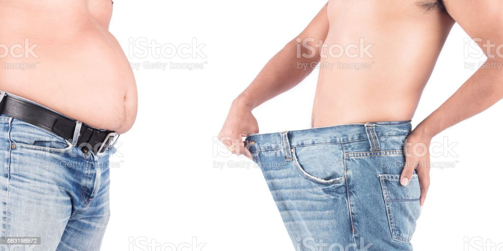 Young man show body after weight loss 免版稅 stock photo