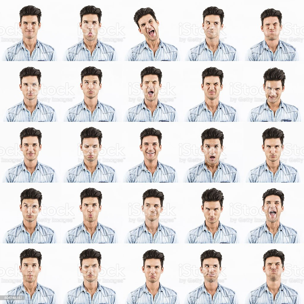Young man showing different facial expressions stock photo