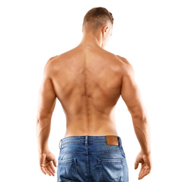 young man showing his muscular back - a petto nudo foto e immagini stock