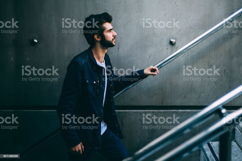 Young man - Side view stock photo