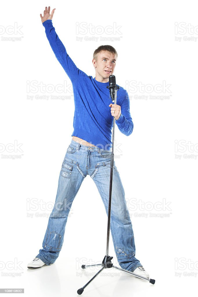young man singing royalty-free stock photo