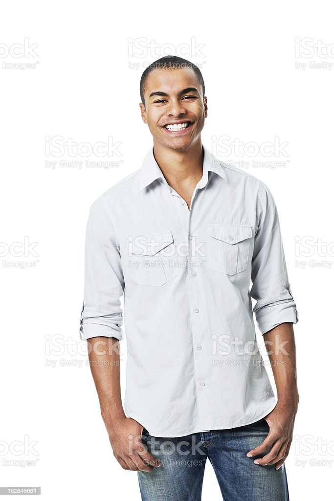 Young Man Smiling at Camera - Isolated royalty-free stock photo