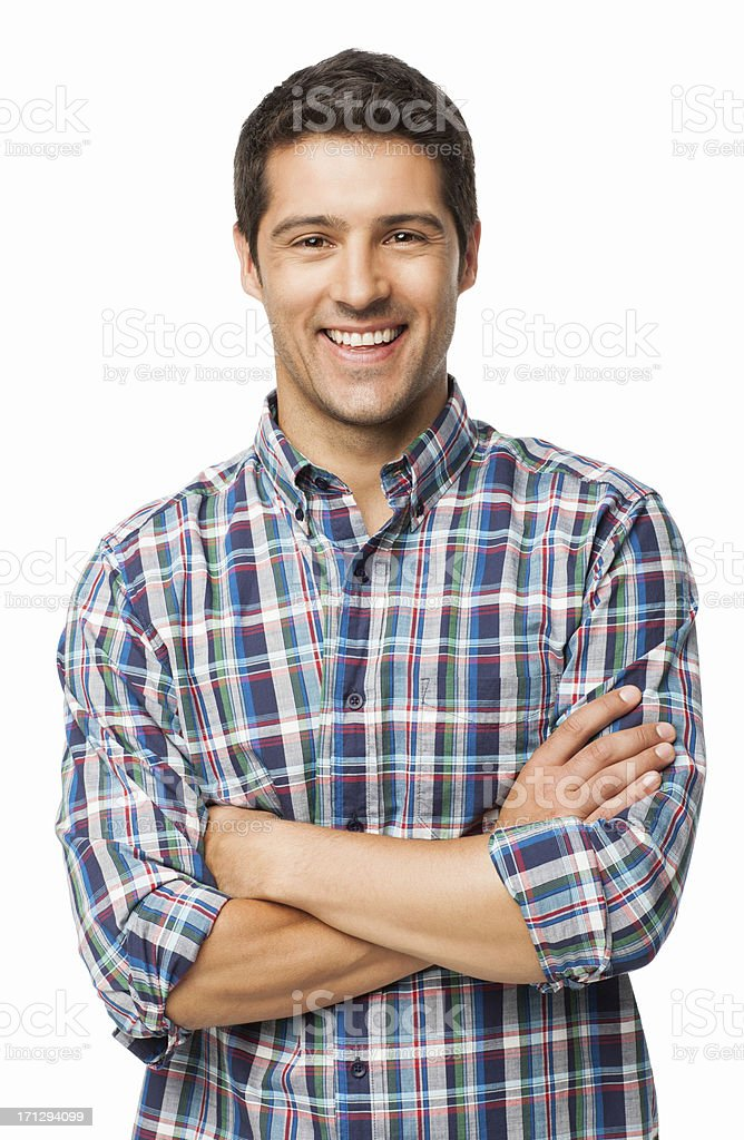 Young Man Smiling - Isolated Portrait of a young man in checkered shirt smiling with arms crossed. Vertical shot. Isolated on white. Adult Stock Photo