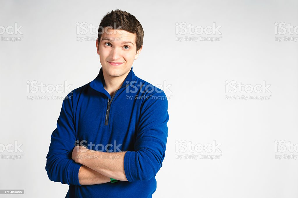 Young man smiling to obviously good suggestion royalty-free stock photo