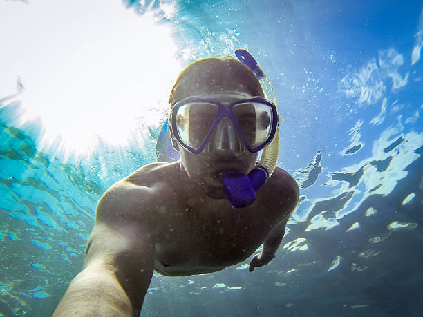 Young man snorkeling in the ocean - Canary Islands, Spain. – Foto