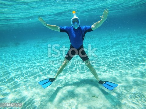 Man in blue neoprene water resistant suit and free breath mask