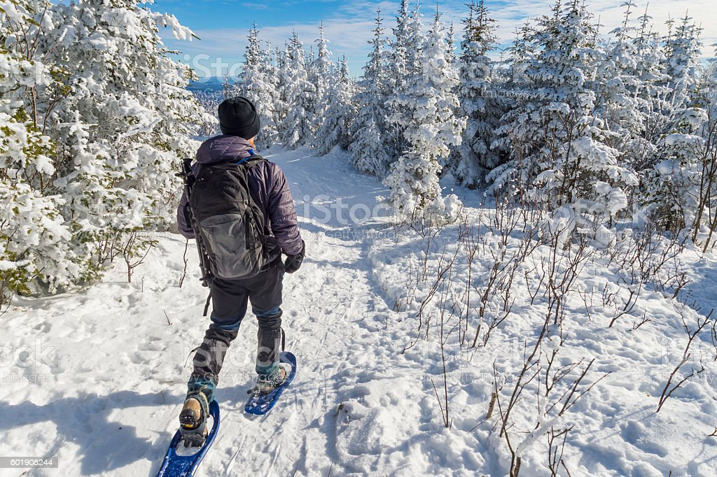 Young man snowshoeing in winter stock photo