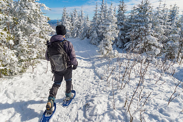 young man snowshoeing in winter - raquette photos et images de collection