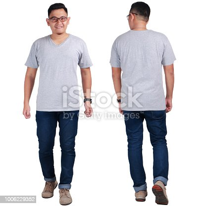 Attractive young Asian man standing posing wearing plain grey shirt, blank t-shirt mock up for  printing, front back view