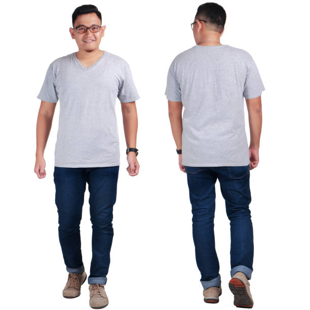 Young Man Standing, Grey Shirt Mock Up stock photo