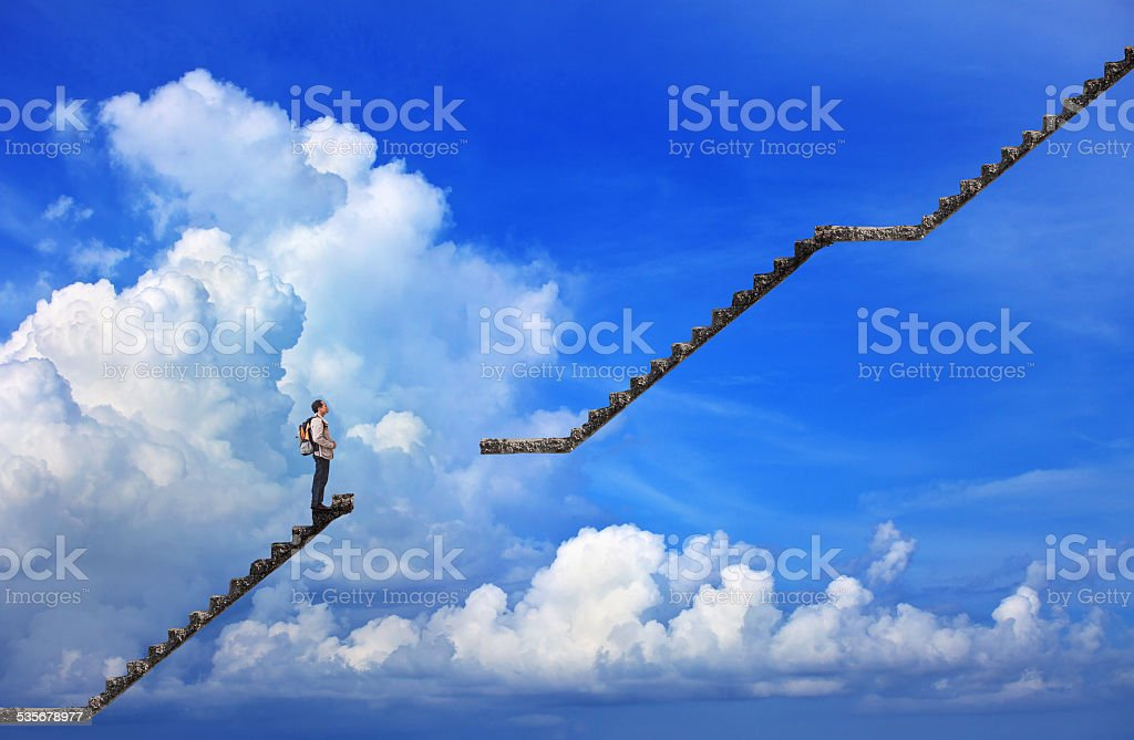 young man standing on broken stair ways - Royalty-free Adult Stock Photo