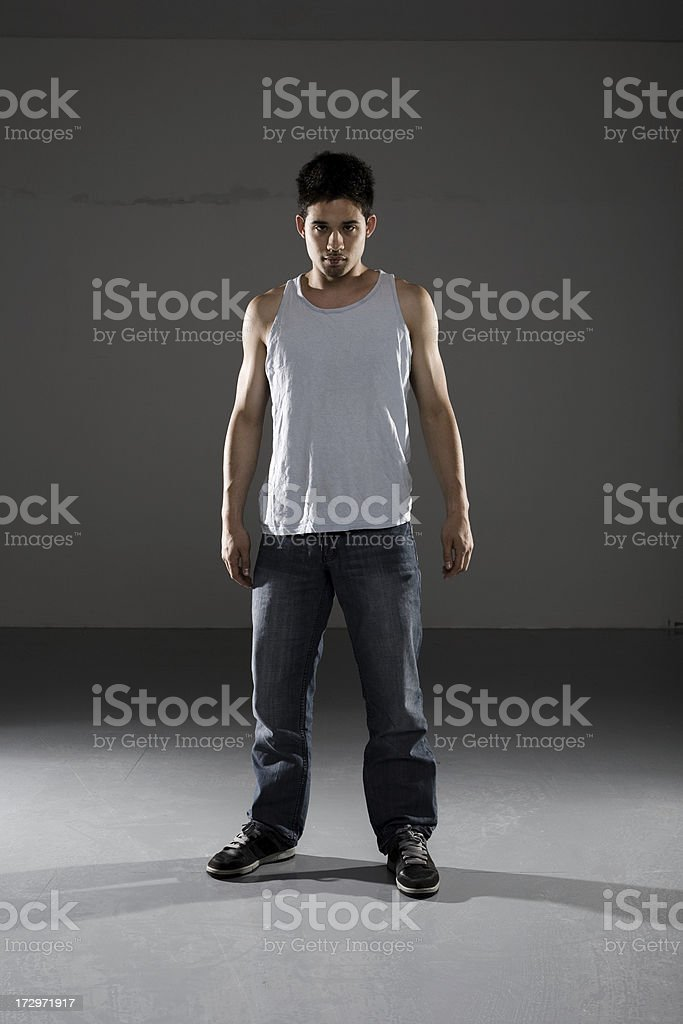 young man standing stock photo