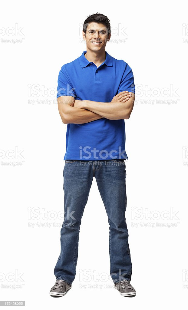 Young Man Standing With Arms Crossed - Isolated stock photo